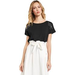 tekstylia Damskie T-shirty z krótkim rękawem Gaudi 011FD64022 Czarny