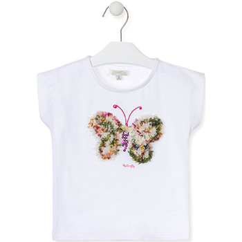 tekstylia Dziewczynka T-shirty z krótkim rękawem Losan 016-1790AL Biały