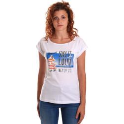 tekstylia Damskie T-shirty z krótkim rękawem Key Up 5D72S 0001 Biały