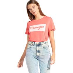 tekstylia Damskie T-shirty z krótkim rękawem Wrangler W7016D Czerwony