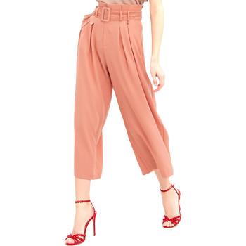 tekstylia Damskie Spodnie z lejącej tkaniny / Alladynki Fracomina FR20SM644 Różowy