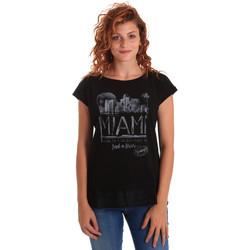 tekstylia Damskie T-shirty z krótkim rękawem Key Up 5Z10S 0001 Czarny