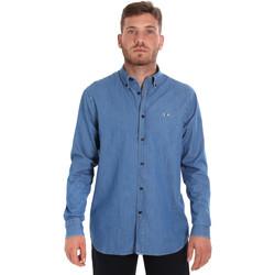 tekstylia Męskie Koszule z długim rękawem Les Copains 9U2361 Niebieski