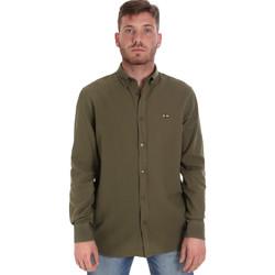 tekstylia Męskie Koszule z długim rękawem Les Copains 9U2371 Zielony