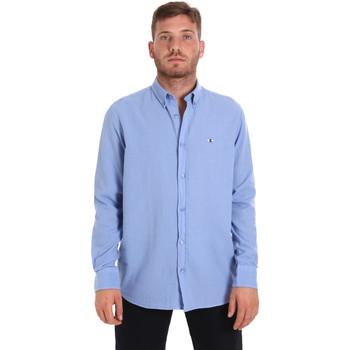tekstylia Męskie Koszule z długim rękawem Les Copains 9U2371 Niebieski