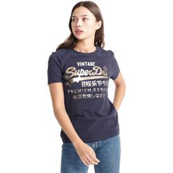 tekstylia Damskie T-shirty z krótkim rękawem Superdry W1010049A Niebieski
