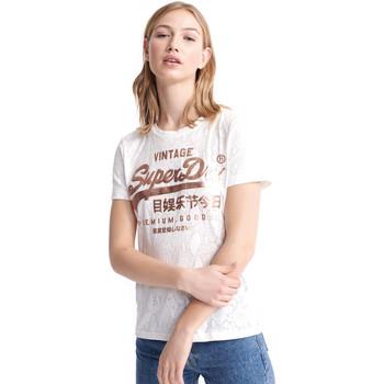 tekstylia Damskie T-shirty z krótkim rękawem Superdry W1010090A Biały