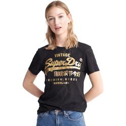 tekstylia Damskie T-shirty z krótkim rękawem Superdry W1010090A Czarny