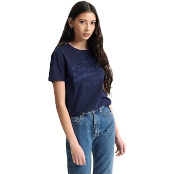 tekstylia Damskie T-shirty z krótkim rękawem Superdry W1010028A Niebieski