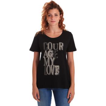 tekstylia Damskie T-shirty z krótkim rękawem Key Up 5Z19S 0001 Czarny