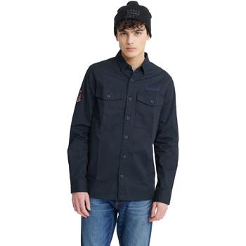 tekstylia Męskie Koszule z długim rękawem Superdry M4010023A Niebieski