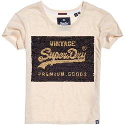 tekstylia Damskie T-shirty z krótkim rękawem Superdry G10010MR Beżowy
