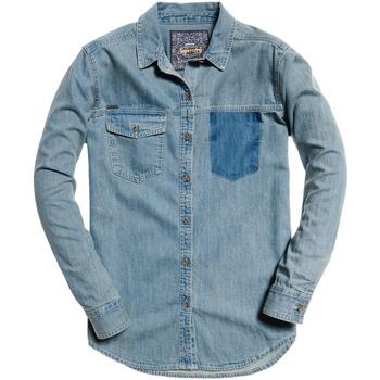 tekstylia Damskie Koszule Superdry G40004IR Niebieski