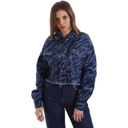 tekstylia Damskie Kurtki jeansowe Versace C0HVB939AQC5Q904 Niebieski