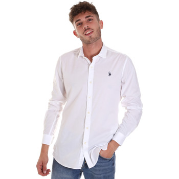 tekstylia Męskie Koszule z długim rękawem U.S Polo Assn. 58835 50655 Biały