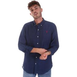 tekstylia Męskie Koszule z długim rękawem U.S Polo Assn. 58574 50816 Niebieski
