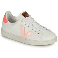 Buty Dziewczynka Trampki niskie Victoria TENIS VEGANA CONTRASTE Biały / Różowy