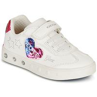 Buty Dziewczynka Trampki niskie Geox SKYLIN GIRL Biały / Czarny / Różowy