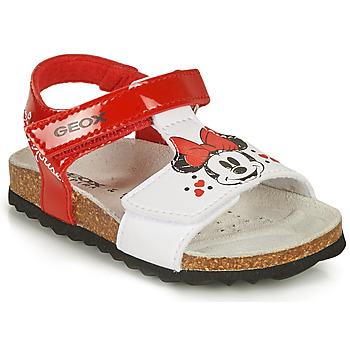 Buty Dziewczynka Sandały Geox SANDAL CHALKI GIRL Czerwony / Biały