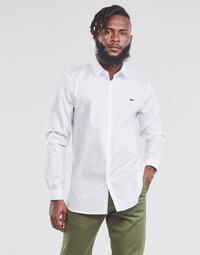 tekstylia Męskie Koszule z długim rękawem Lacoste PITTA Biały