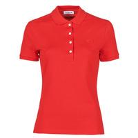 tekstylia Damskie Koszulki polo z krótkim rękawem Lacoste POLO SLIM FIT Czerwony