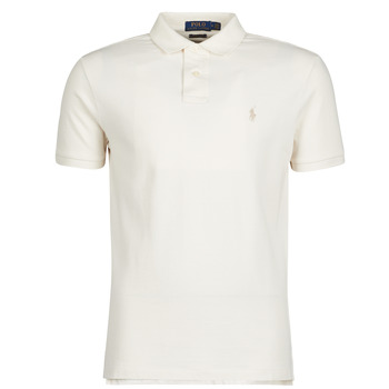 tekstylia Męskie Koszulki polo z krótkim rękawem Polo Ralph Lauren POLO CINTRE SLIM FIT EN COTON BASIC MESH LOGO PONY PLAYER Ecru / Antique / Cream