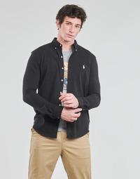 tekstylia Męskie Koszule z długim rękawem Polo Ralph Lauren CHEMISE AJUSTEE COL BOUTONNE EN POLO FEATHERWEIGHT LOGO PONY PLA Czarny