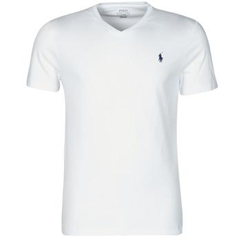 tekstylia Męskie T-shirty z krótkim rękawem Polo Ralph Lauren T-SHIRT AJUSTE COL V EN COTON LOGO PONY PLAYER Biały