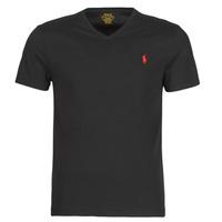 tekstylia Męskie T-shirty z krótkim rękawem Polo Ralph Lauren T-SHIRT AJUSTE COL V EN COTON LOGO PONY PLAYER Czarny
