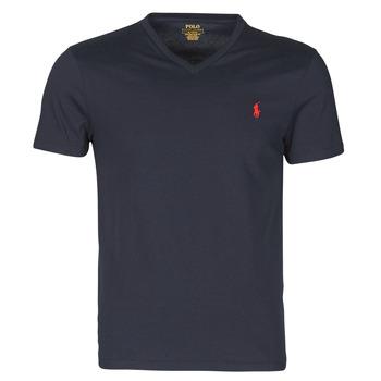 tekstylia Męskie T-shirty z krótkim rękawem Polo Ralph Lauren T-SHIRT AJUSTE COL V EN COTON LOGO PONY PLAYER Niebieski