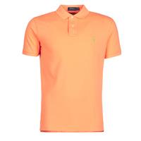 tekstylia Męskie Koszulki polo z krótkim rękawem Polo Ralph Lauren POLO AJUSTE DROIT EN COTON BASIC MESH LOGO PONY PLAYER Pomarańczowy