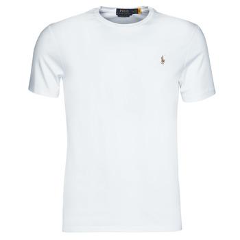 tekstylia Męskie T-shirty z krótkim rękawem Polo Ralph Lauren T-SHIRT AJUSTE COL ROND EN PIMA COTON LOGO PONY PLAYER MULTICOLO Biały