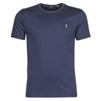 tekstylia Męskie T-shirty z krótkim rękawem Polo Ralph Lauren T-SHIRT AJUSTE COL ROND EN PIMA COTON LOGO PONY PLAYER MULTICOLO Niebieski