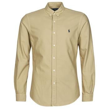 tekstylia Męskie Koszule z długim rękawem Polo Ralph Lauren CHEMISE CINTREE SLIM FIT EN OXFORD LEGER TYPE CHINO COL BOUTONNE Beżowy