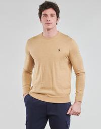 tekstylia Męskie Swetry Polo Ralph Lauren PULL COL ROND AJUSTE EN COTON PIMA LOGO PONY PLAYER Camel