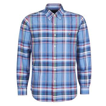 tekstylia Męskie Koszule z długim rękawem Polo Ralph Lauren CHEMISE AJUSTEE EN OXFORD COL BOUTONNE  LOGO PONY PLAYER MULTICO Wielokolorowy