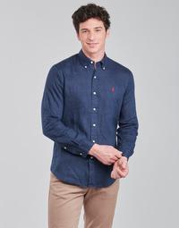 tekstylia Męskie Koszule z długim rękawem Polo Ralph Lauren CHEMISE AJUSTEE EN LIN COL BOUTONNE  LOGO PONY PLAYER Niebieski
