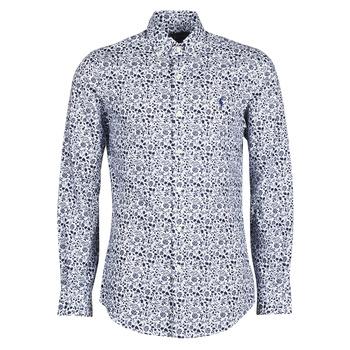 tekstylia Męskie Koszule z długim rękawem Polo Ralph Lauren CHEMISE CINTREE SLIM FIT EN POPLINE DE COTON COL BOUTONNE LOGO P Niebieski