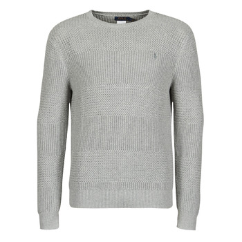 tekstylia Męskie Swetry Polo Ralph Lauren PULL COL ROND EN COTON TEXTURE LOGO PONY PLAYER Szary