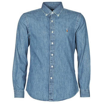 tekstylia Męskie Koszule z długim rękawem Polo Ralph Lauren CHEMISE CINTREE SLIM FIT EN JEAN DENIM BOUTONNE LOGO PONY PLAYER Niebieski / Denim