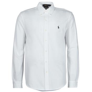 tekstylia Męskie Koszule z długim rękawem Polo Ralph Lauren CHEMISE AJUSTEE COL BOUTONNE EN POLO FEATHERWEIGHT LOGO PONY PLA Biały