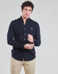 tekstylia Męskie Koszule z długim rękawem Polo Ralph Lauren CHEMISE AJUSTEE COL BOUTONNE EN POLO FEATHERWEIGHT LOGO PONY PLA Marine