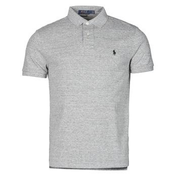 tekstylia Męskie Koszulki polo z krótkim rękawem Polo Ralph Lauren POLO AJUSTE DROIT EN COTON BASIC MESH LOGO PONY PLAYER Szary