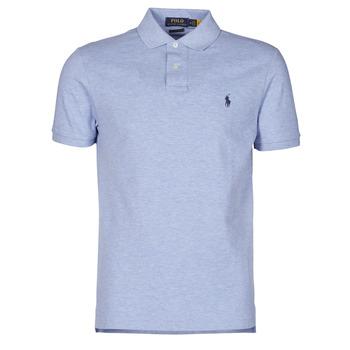 tekstylia Męskie Koszulki polo z krótkim rękawem Polo Ralph Lauren POLO AJUSTE DROIT EN COTON BASIC MESH LOGO PONY PLAYER Niebieski