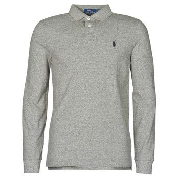 tekstylia Męskie Koszulki polo z długim rękawem Polo Ralph Lauren POLO AJUSTE DROIT EN COTON BASIC MESH LOGO PONY PLAYER Szary