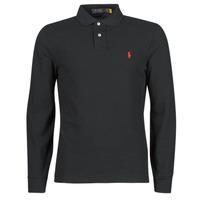 tekstylia Męskie Koszulki polo z długim rękawem Polo Ralph Lauren POLO AJUSTE DROIT EN COTON BASIC MESH LOGO PONY PLAYER Czarny