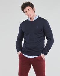tekstylia Męskie Swetry Polo Ralph Lauren PULL COL ROND AJUSTE EN COTON PIMA LOGO PONY PLAYER Niebieski
