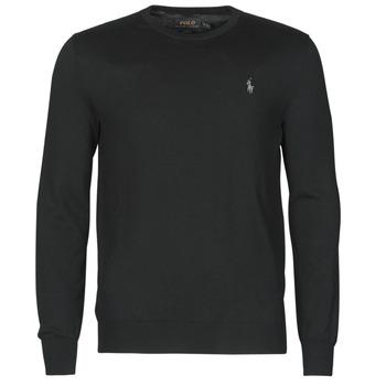 tekstylia Męskie Swetry Polo Ralph Lauren PULL COL ROND AJUSTE EN COTON PIMA LOGO PONY PLAYER Czarny