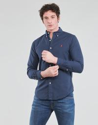 tekstylia Męskie Koszule z długim rękawem Polo Ralph Lauren CHEMISE CINTREE SLIM FIT EN OXFORD LEGER TYPE CHINO COL BOUTONNE Marine