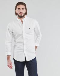 tekstylia Męskie Koszule z długim rękawem Polo Ralph Lauren CHEMISE CINTREE SLIM FIT EN OXFORD LEGER TYPE CHINO COL BOUTONNE Biały
